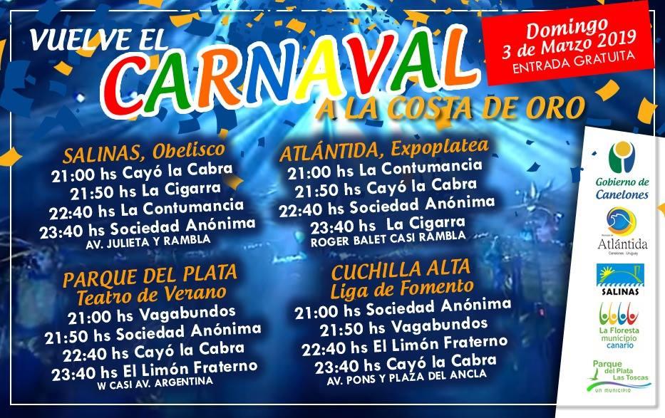 Domingo 3 de Marzo. Circuito Carnavalero Gratuito en la Costa de Oro