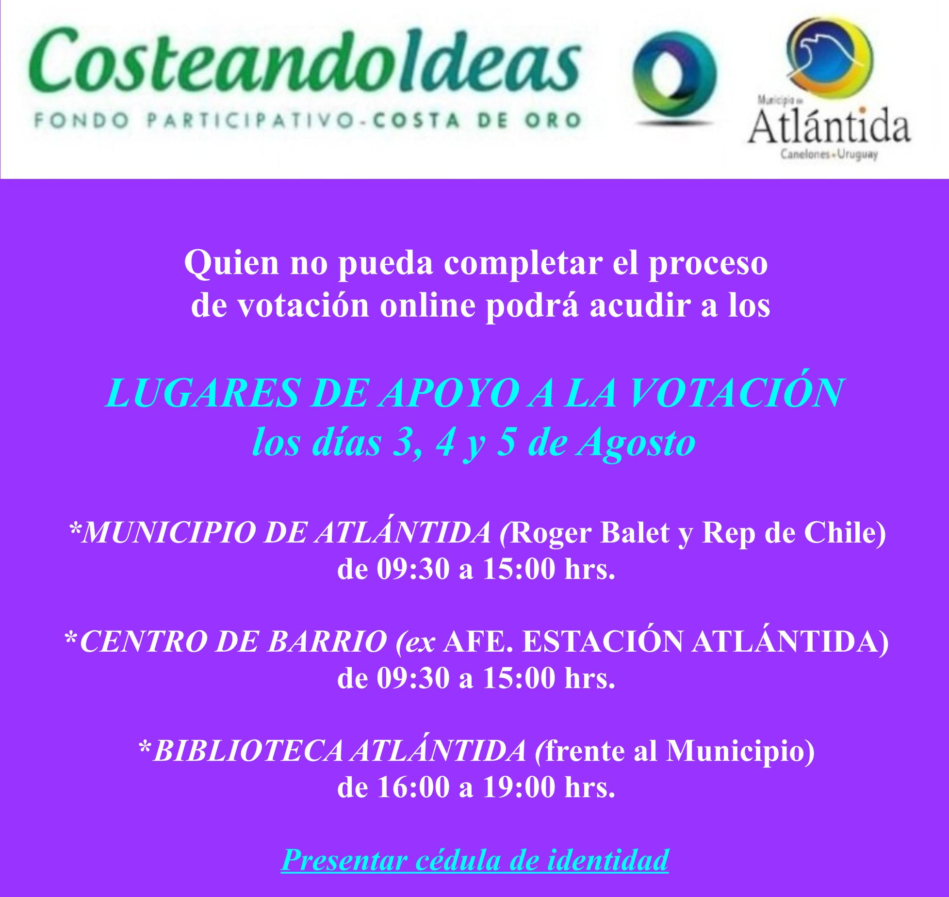 ➡Si aún no has podido votar por el proyecto que te gusta para tu municipio en el COSTEANDO IDEAS, te contamos que los días 3, 4 y 5 de Agosto podés acercarte a alguno de éstos lugares y nosotros te ayudamos a hacerlo.⤵️