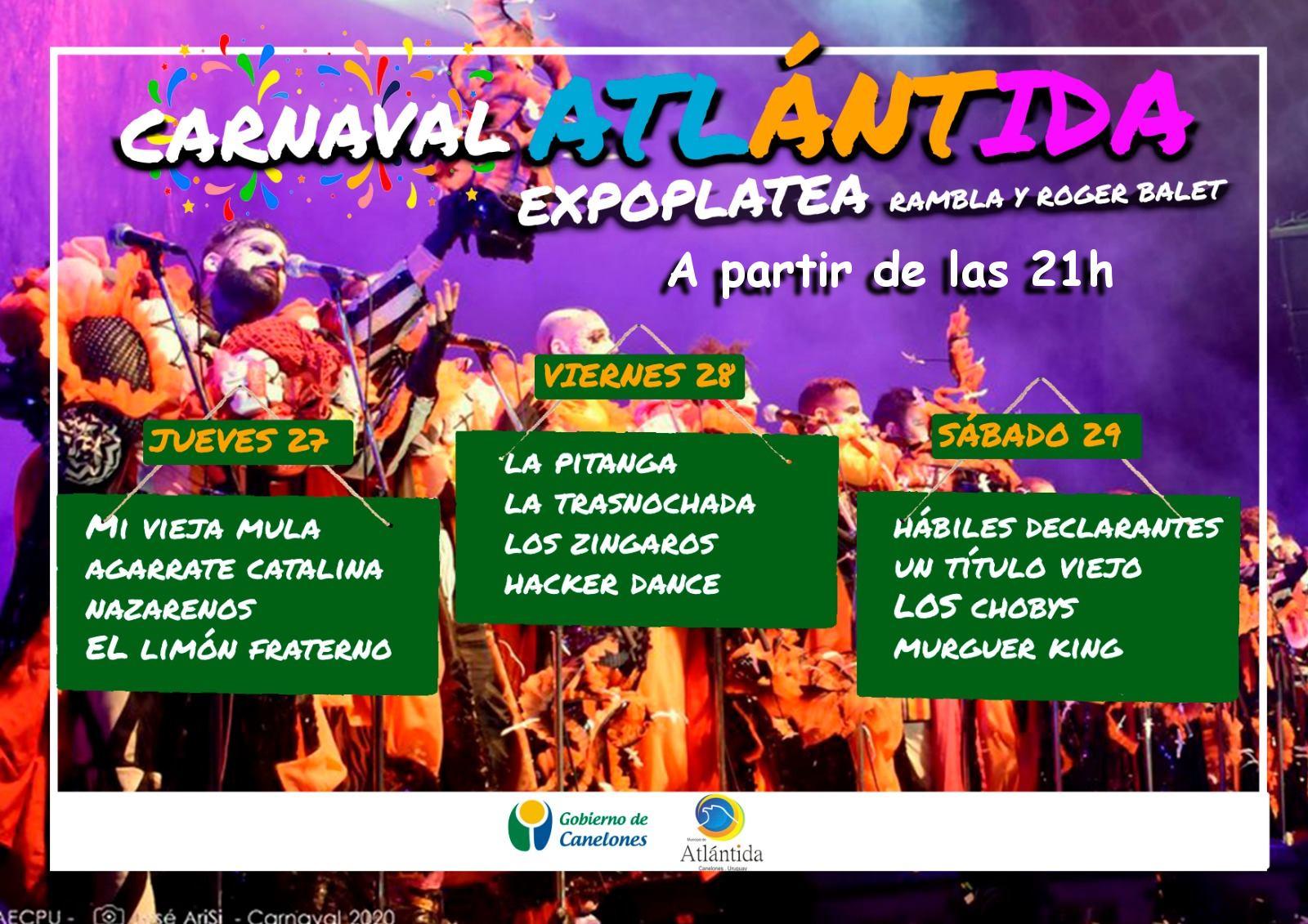 Carnaval en la Expoplatea de Atlántida. 27, 28 y 29 de Febrero 21h.