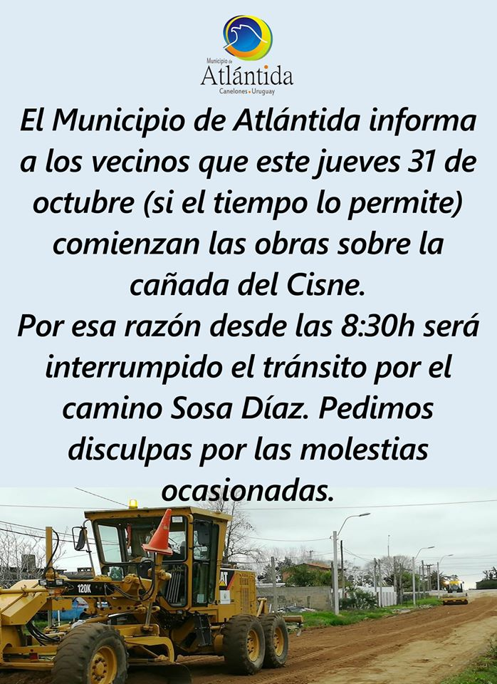 Comunicamos Interrupción de tránsito en el Camino Sosa Díaz. Jueves 31 de Octubre a partir de 8:30 horas