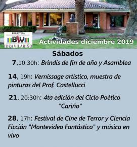 """Sábados en Biblioteca """"Idea Vilariño"""""""